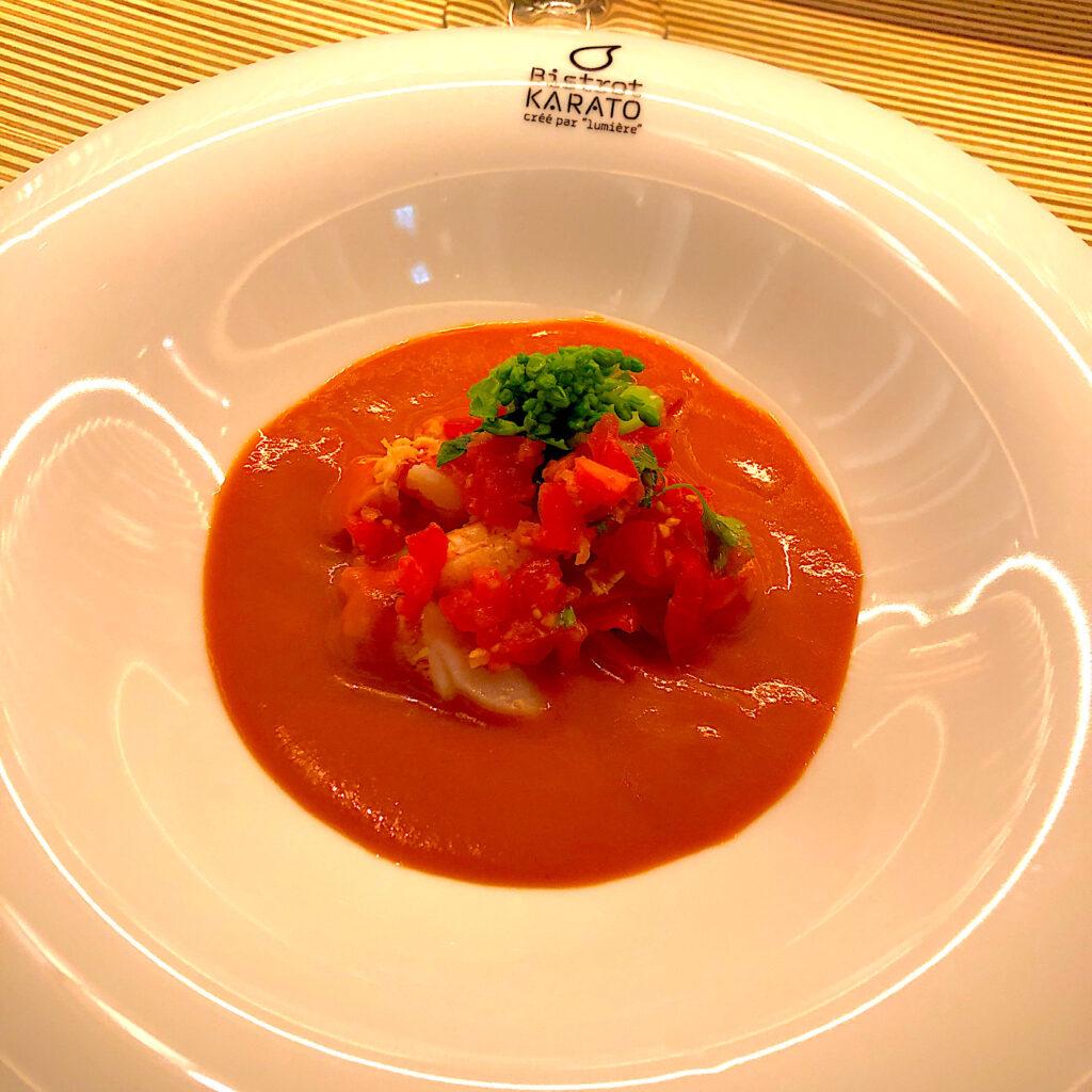 ワタリ蟹の冷製ビスクスープ